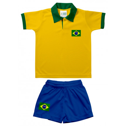 Kit Camiseta e Shorts Polo Infantil Brasil
